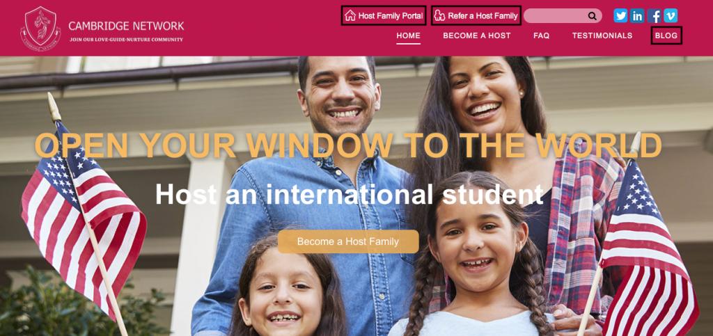 Host Family Website Navigation