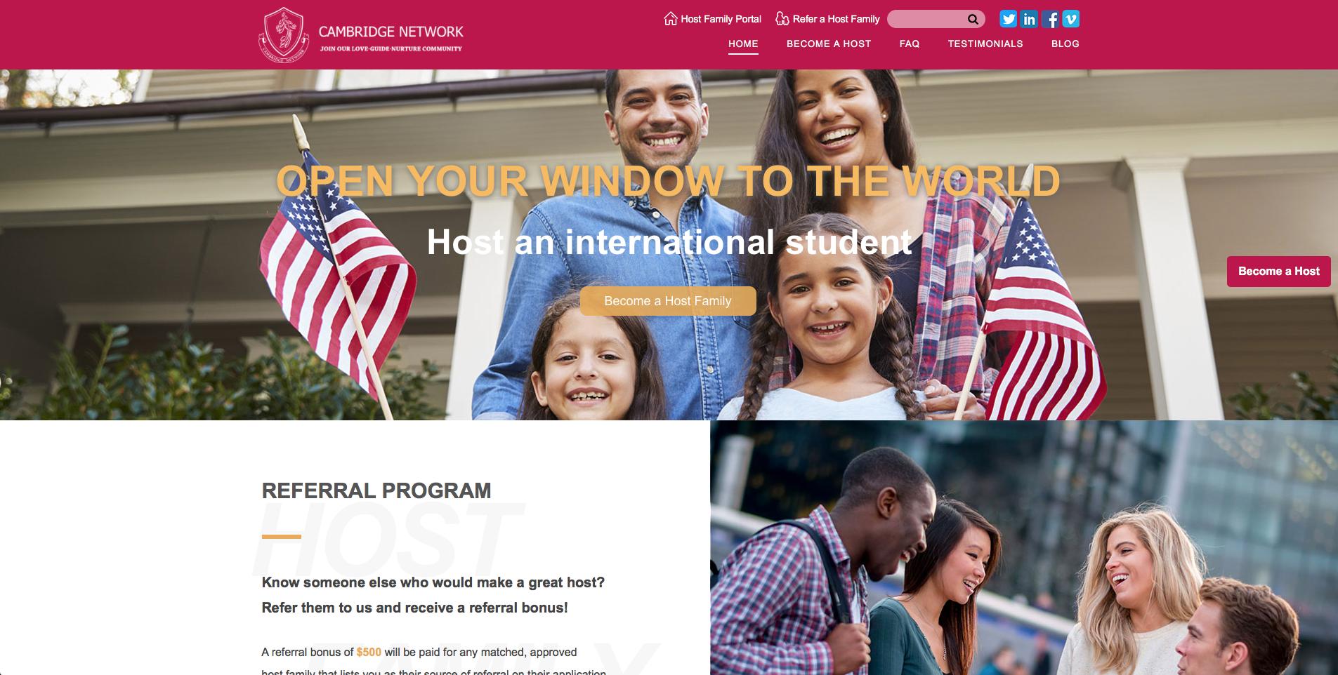 Cambridge Network Host Family Website
